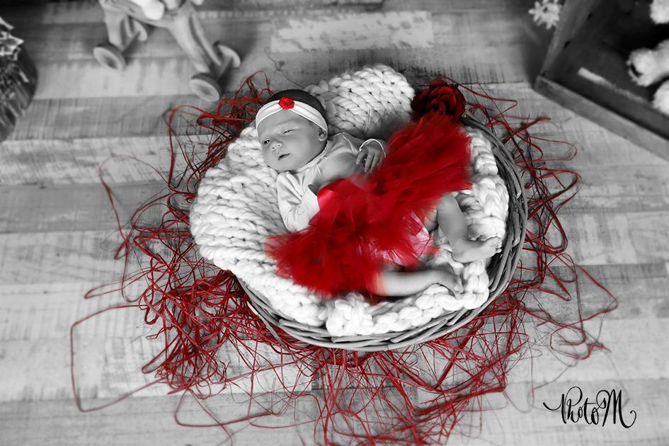 bébé en tutu rouge et dans panier osier